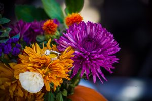 Engagement Ring Photo using Bouquet as prop